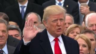 Donald Trump being sworn in as President at Inauguration: 2017