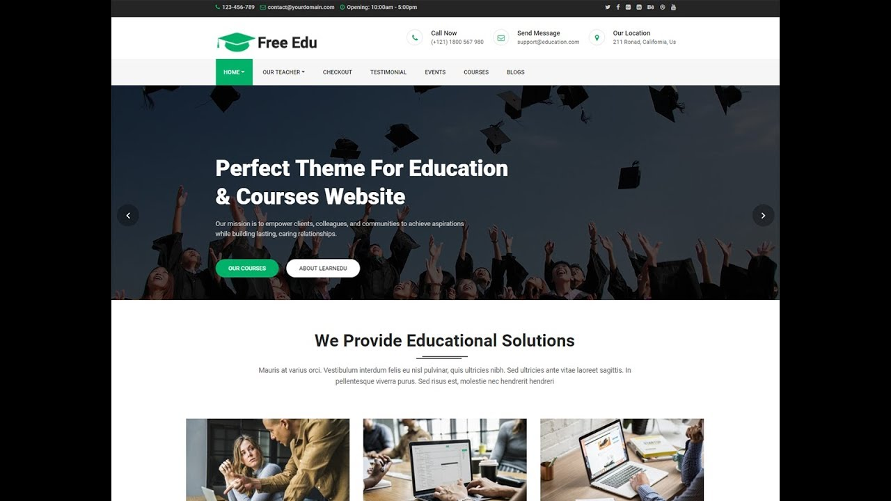 Free Education Theme Installation and Demo Import