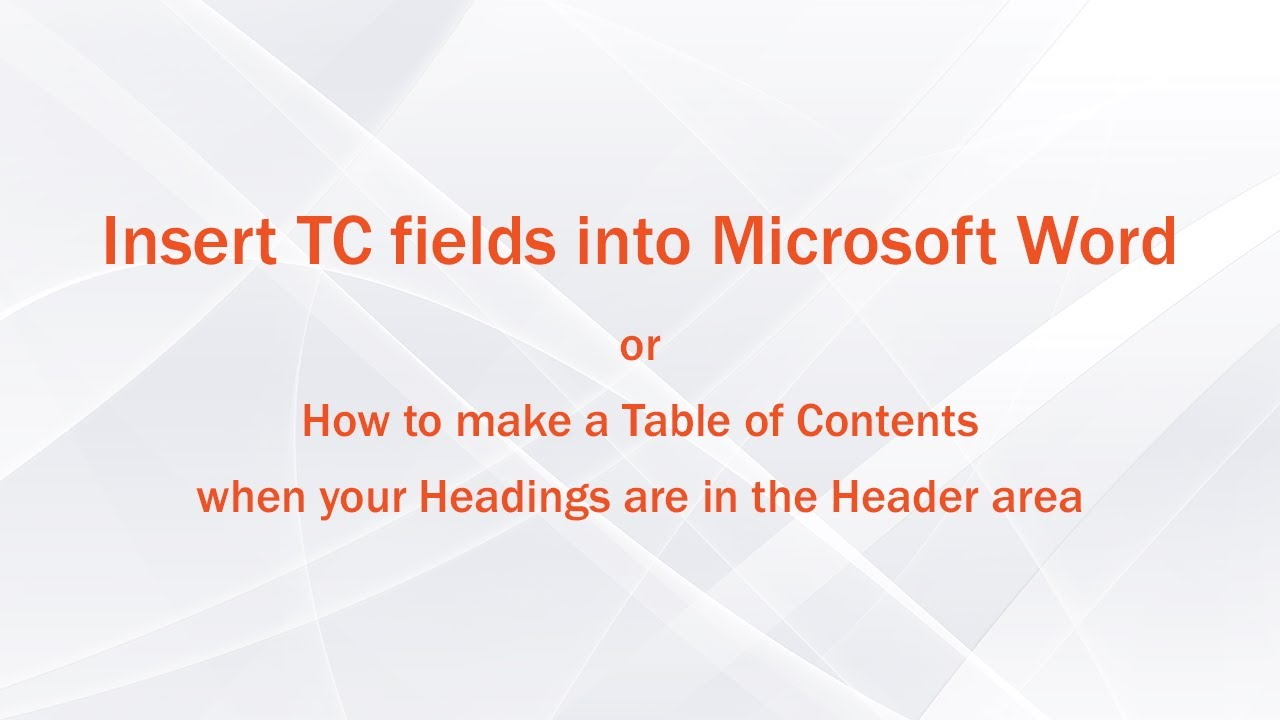 Microsoft Word: My Headings are in the Header area but don't appear in the Table of Contents!