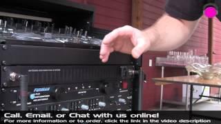 ODYSSEY FZGS1116WDLXBL 16-space Amp Rack w/Wheels, Glide Shelf & Table | agiprodj.com