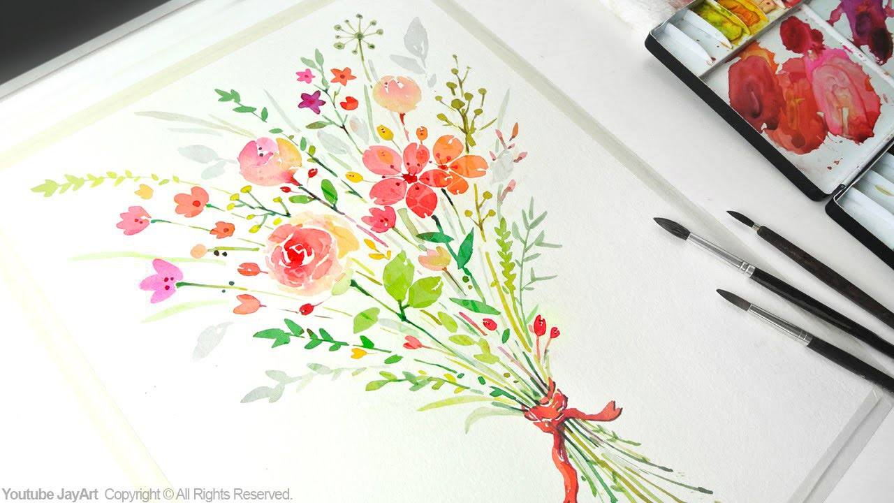 How to paint a flower bouquet with watercolors jay art for How to paint a rose in watercolor step by step