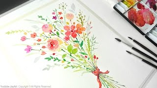Painting Flowers - How to paint a flower bouquet with watercolors