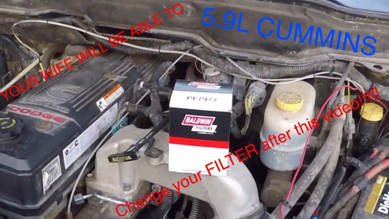 hight resolution of fuel filter change on 3rd gen cummins 03 07 5 5 9l