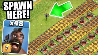 """Clash Of Clans - """"THE BARRICADE"""" vs ALL HOG RIDER ARMY! - INSANE MASS GAME PLAY!"""