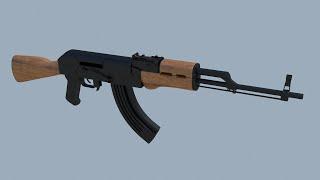blender 3D 1 (tüfek AK-47) bir BÖLÜMÜ yapı eğitimi