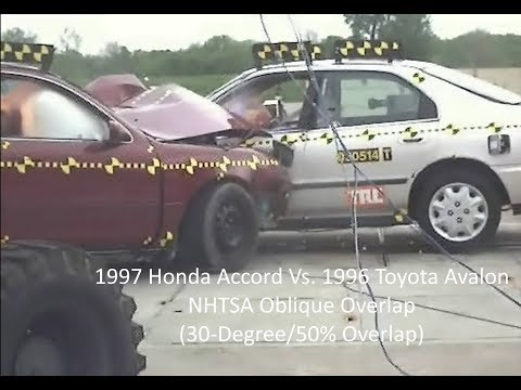 1997 Honda Accord Vs. 1996 Toyota Avalon NHTSA Oblique Overlap Crash Test