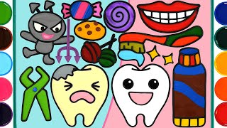 Toothpaste Brush, Dental Care Set Jelly Painting & Coloring for Kids, Toddlers | Mewarnai Permen