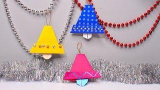 dIY Оригами Рождественские Колокольчики из бумаги. Новогодние поделки