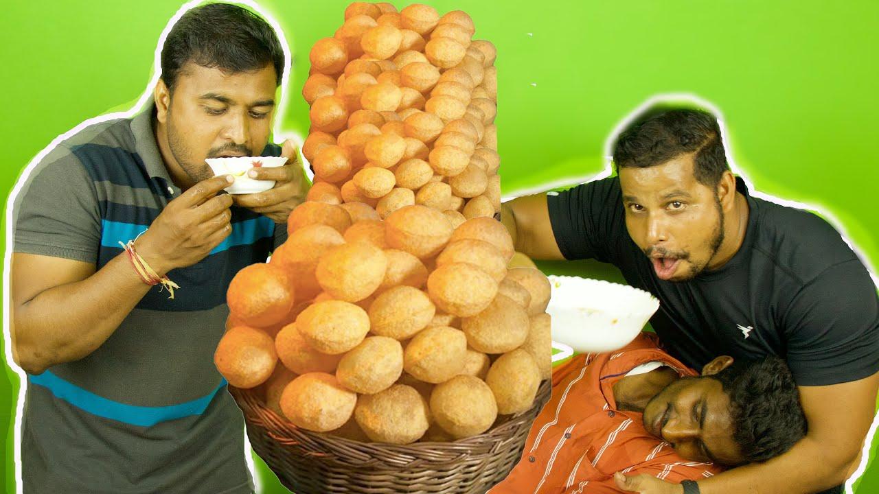 EK CHALAAK PANI PURI WALA AND 2 FREE FOOD HUNTERS   FREE GOL GAPPE EATING CHALLENGE   PART ONE  