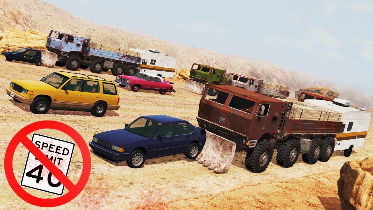 BeamNG Drive - Six 8x8 BigRig vs Heavy Traffic