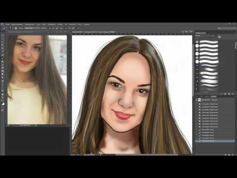 Портрет в фотошопе по фото / Photoshop Art 7