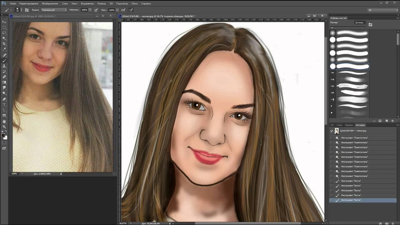 Как сделать нарисованный портрет в фотошопе фото 651