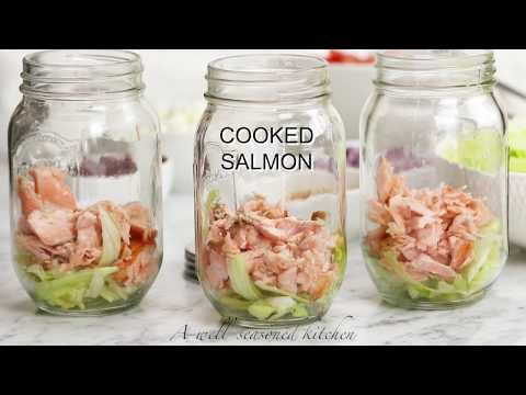 Layered Salmon Salad with Avocado Dressing