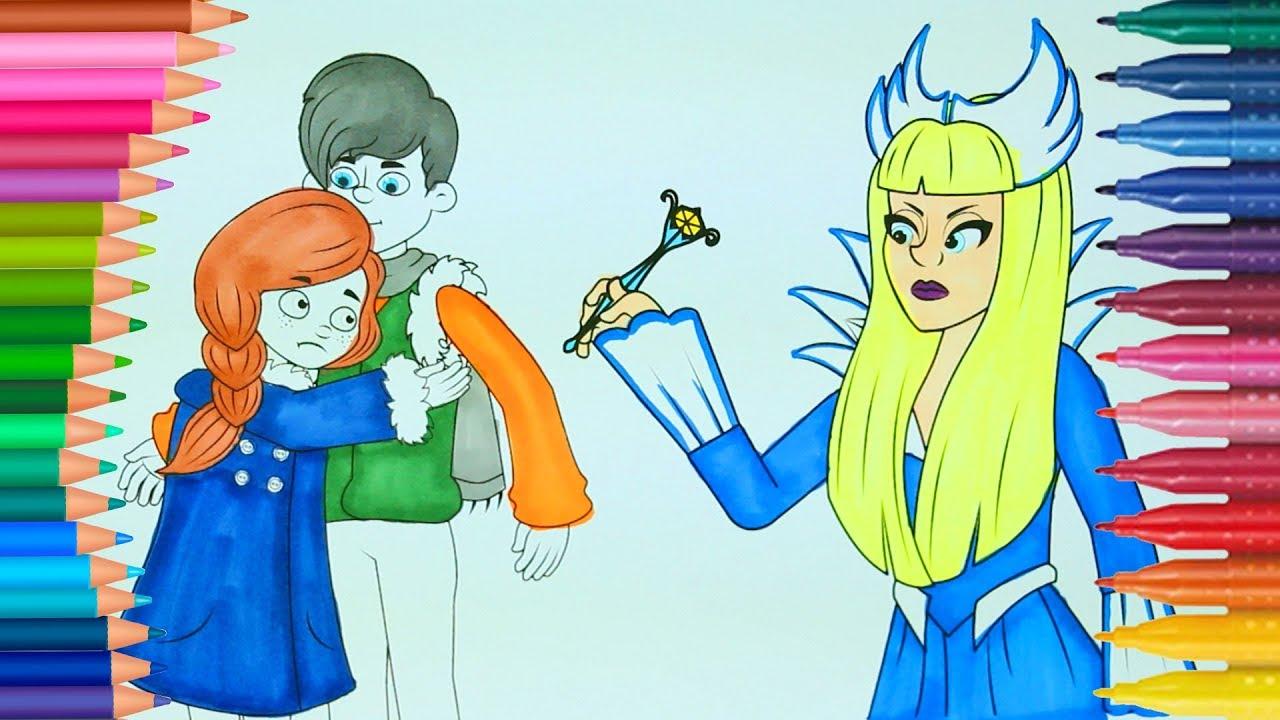 Karlar Kraliçesi Kay Ve Gerda Boyama Sayfası Ile Renkleri