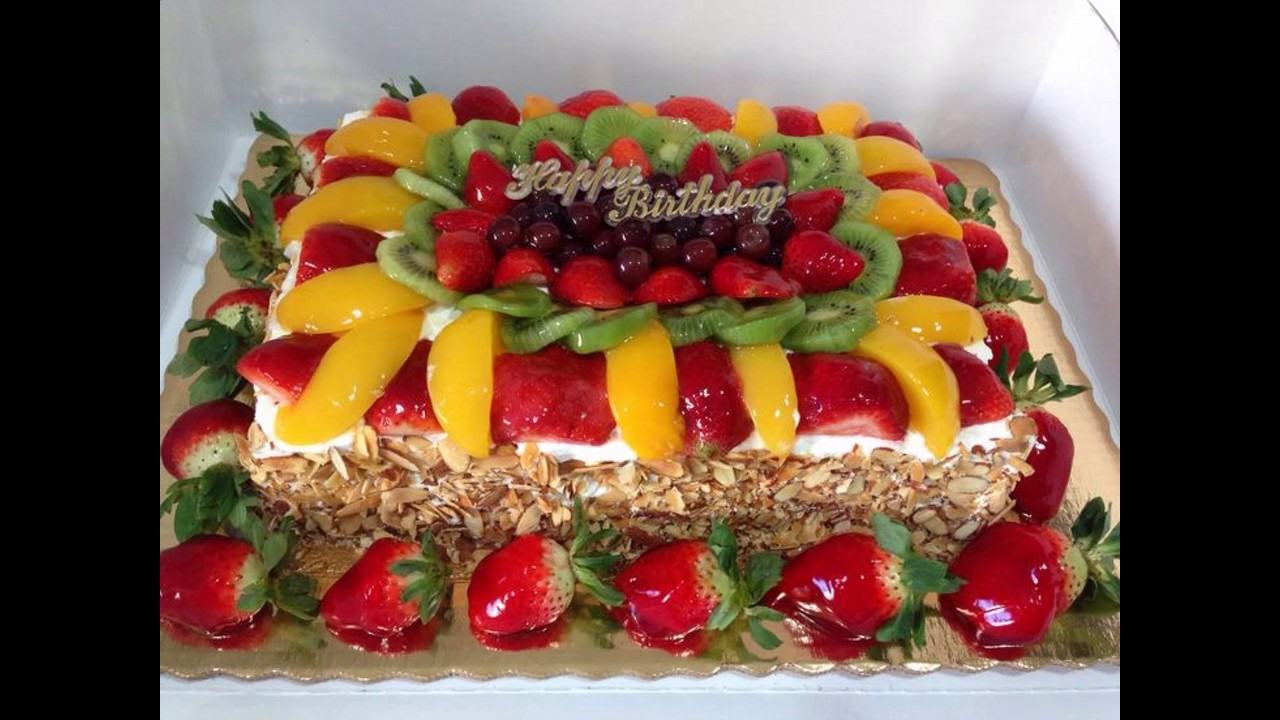 Best cake fruit decoration youtube for Decoration fruit