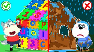 Baby Wolf Learns How to Share Lego Playhouse - LEGO Friendship House | Wolfoo Channel