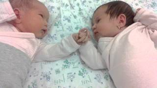 newborn twins talking to each other