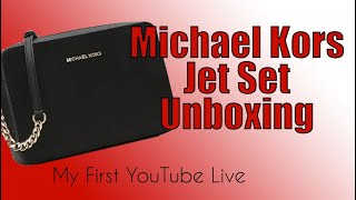 bb5587d195f6 Michael Kors Jet Set Large Purse Unboxing | My First YouTube Live Stream!