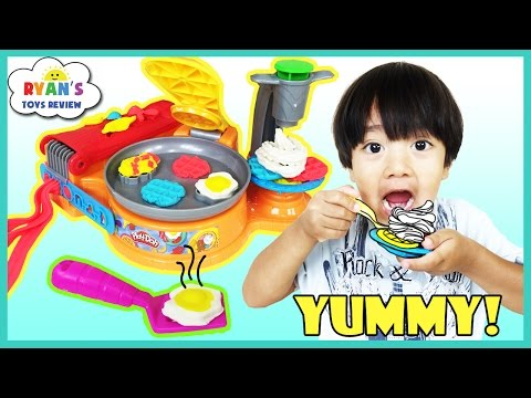 Play Doh Breakfast Cafe Toys For Kids Waffle Maker Play Dough Food Playset Ryan ToysReview