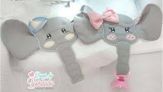 Fraldinha Porta Chupetas Elefantinhos
