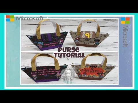 Designer Paper Purse treat bags Tutorial (Microsoft Word)
