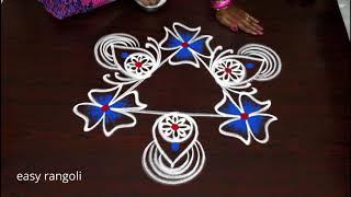 Freehand Triangular rangoli & kolam designs Latest muggulu