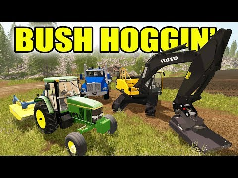FARMING SIMULATOR 2017 | BRUSH HOGGING JOB | WITH EXCAVATOR AND JD 7800