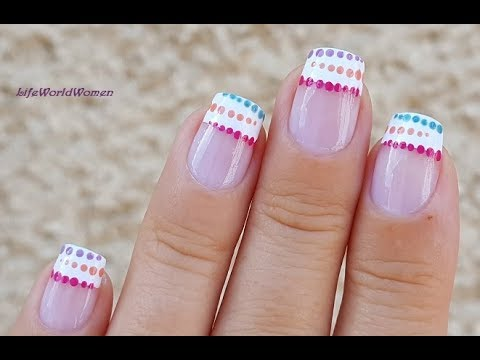 French Manicure Designs 18 White Nail Tips With Colorful Dots