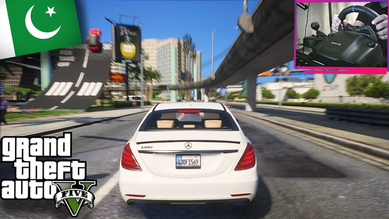 GTA V Real Life Mods - 'MERCEDES BENZ S500' For Micheal Logitech G29 Steering Wheel | GTA 5 Pakistan