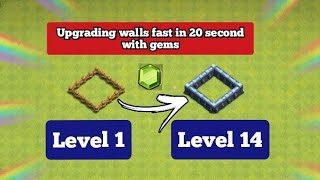 Upgrading wall max in Clash of Clans|How to upgrade fast walls max without gems😱🔥|Max walls.#shorts
