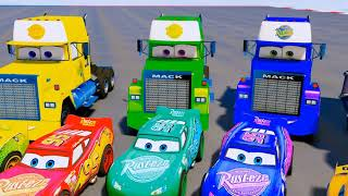 Disney Cars Color Miss Fritter Race Mack Truck McQueen Storm Songs for Kids