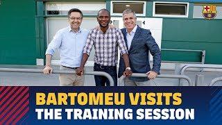 Bartomeu, Abidal and Mestre visit the training session