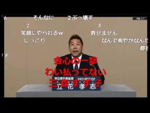 東京都知事選挙 2016 政見放送 NHKをぶっ壊す 立花孝志 コメント盛りだくさん
