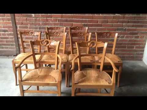 Set of 8 French Provincial Carved Rush Seat Dining Chairs