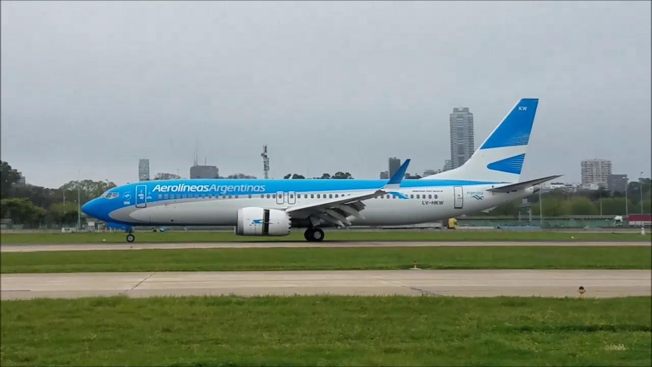 Aerolíneas Argentinas Boeing B737 8 Max LV HKW landing at Aeroparque
