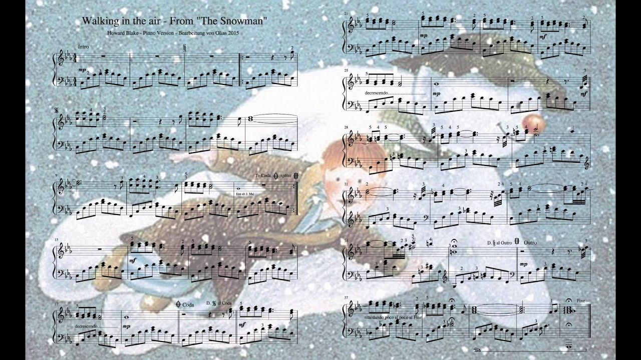 ... The Snowman Theme - Piano Version Cover - Sheet - Along 2015 - YouTube