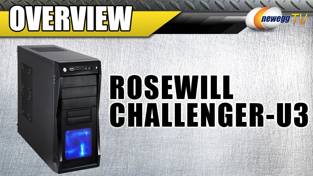 ATX Mid Tower Rosewill Gaming Computer PC Case CHALLENGER Blue LED Front Fan