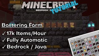 Piglin Bartering Farm | 17k Items/Hour | Minecraft Bedrock Edition and Java