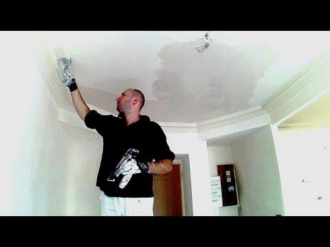 enduire un plafond apr s traitement des fissures 1 3 youtube. Black Bedroom Furniture Sets. Home Design Ideas