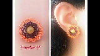 How to Make Quilling Stud Earrings/Design 10/Tutorial