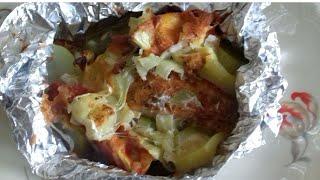 Рыба запеченная в фольге с овощами.Очень вкусная запеченная рыба в фольге!