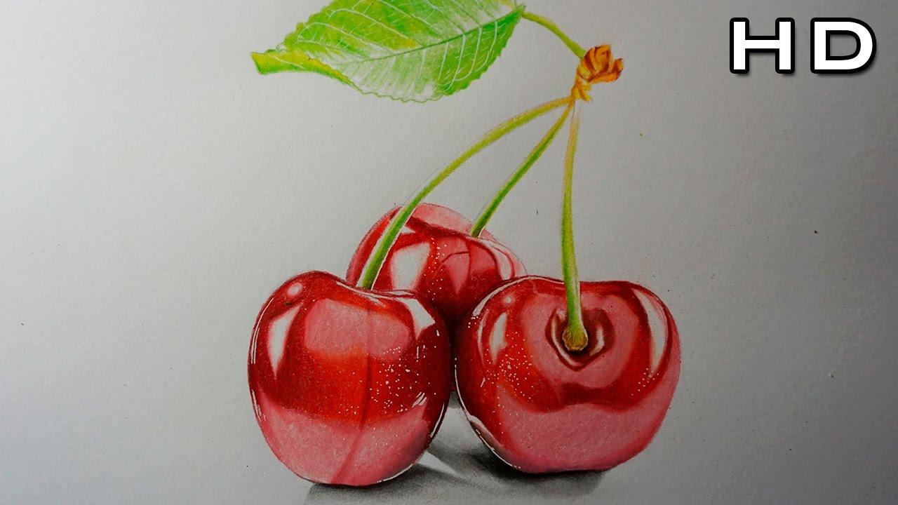 Dibujo De Unas Cerezas Realistas Con Lapices De Colores Youtube