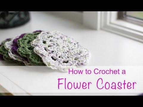 Learn How to Crochet a Flower Coaster – Easy Basics Beginner – Chain Double Crochet V-Stitch