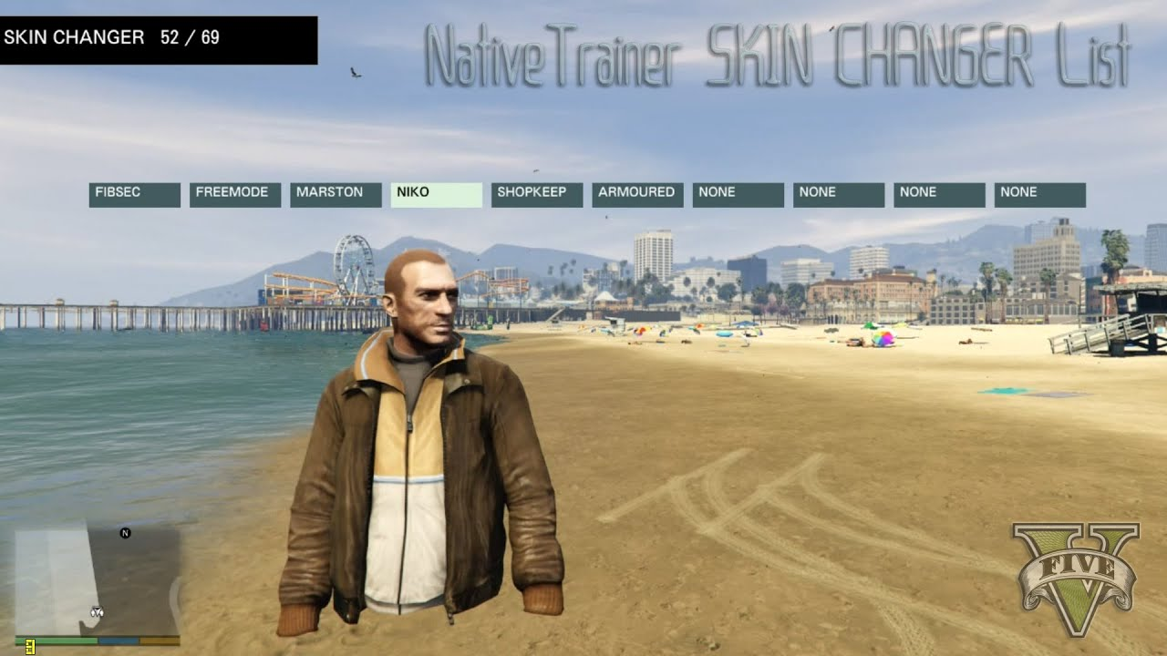 GTA5 NativeTrainer SKIN CHANGER List