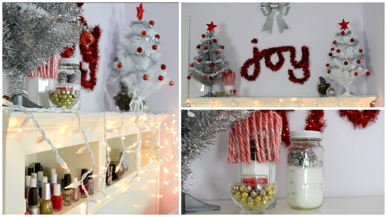 Diy holiday room decorations easy cheap youtube for Cheap christmas decoration ideas