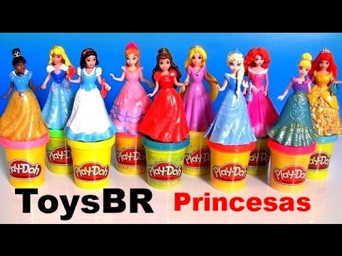 ToysBR 10 Bonecas Princesas Disney Kit Magiclip Branca de Neve, Rapunzel Merida Anna Elsa Ariel