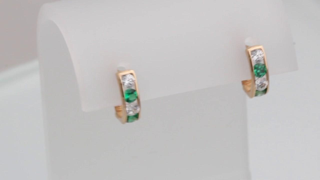 Детские золотые серьги с цирконием - YouTube