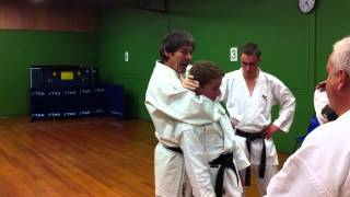 Karate based self defense move to make an attacker lose consciousness.