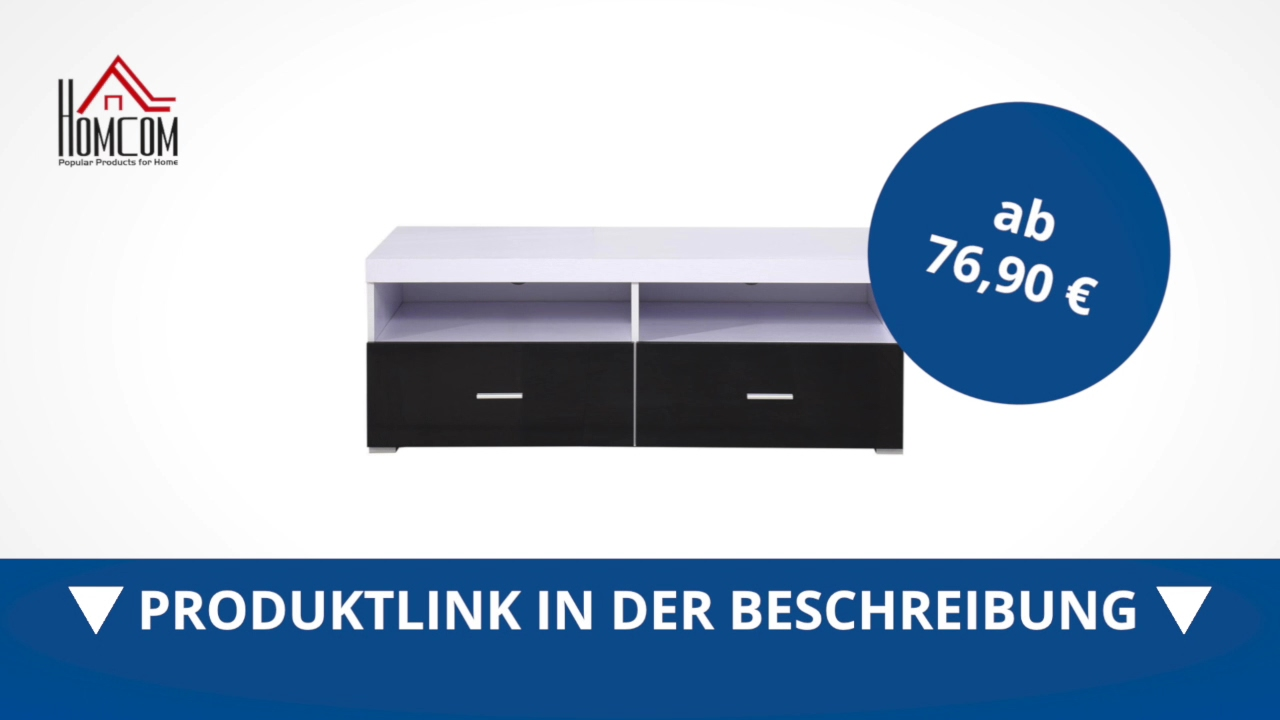 Homcom Fernsehtisch Lowboard Tv Rack Board Regal Schrank Holz