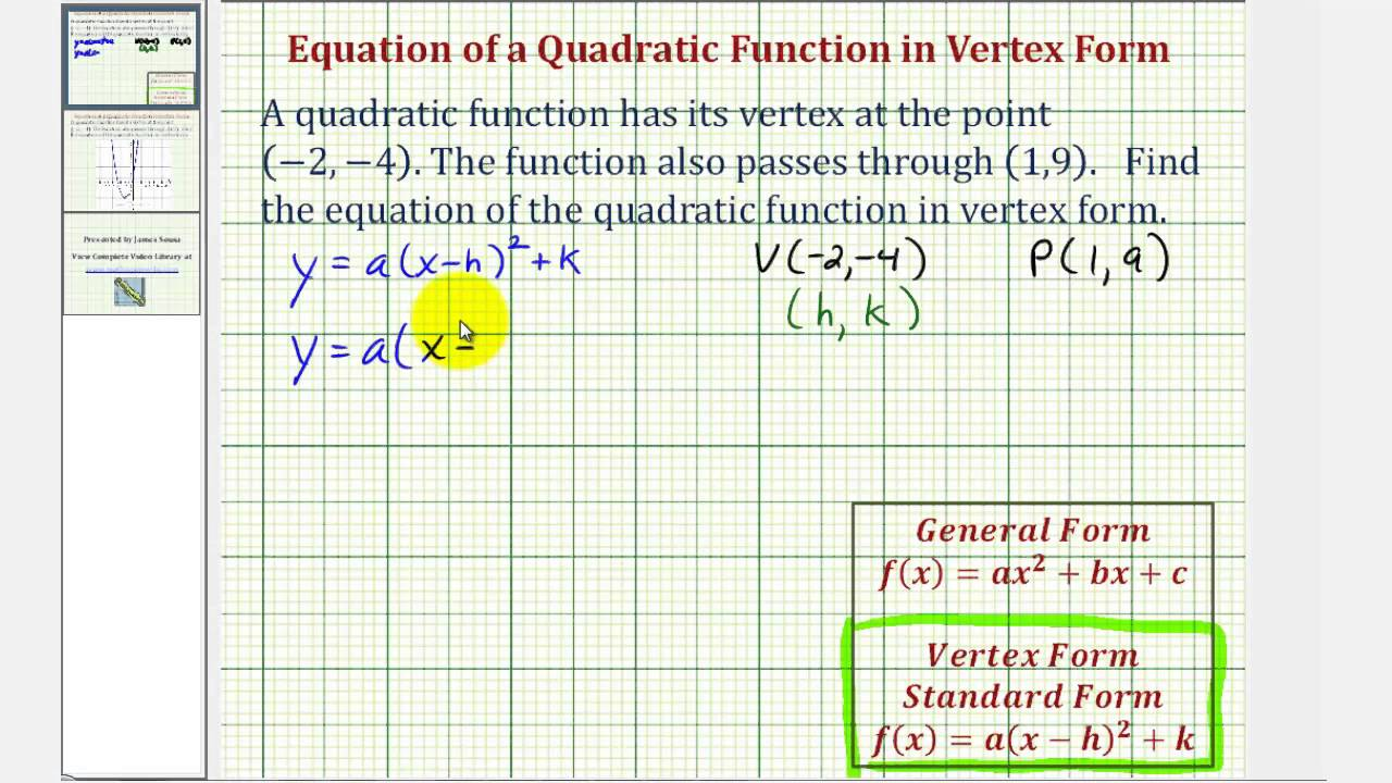 Ex find the vertex form of a quadratic function given the vertex ex find the vertex form of a quadratic function given the vertex and a point youtube falaconquin